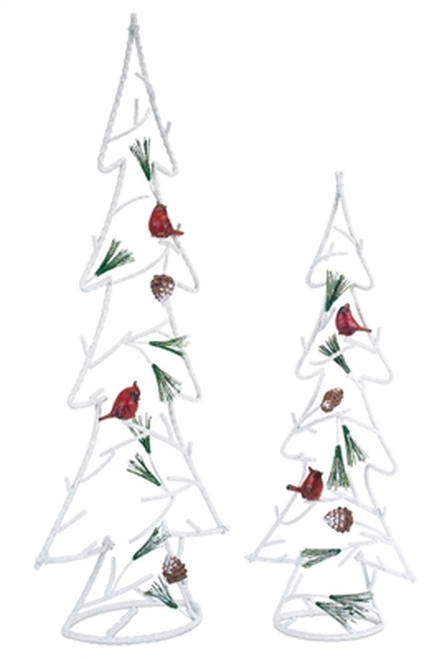 "Set of 2 White and Red Christmas Trees with Cardinal Birds Tabletop Decors 30"" - IMAGE 1"