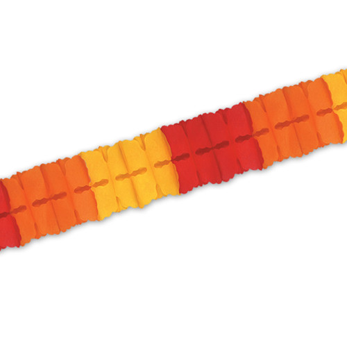 """Pack of 24 Red, Orange and Golden-Yellow Tissue Leaf Garland Decorations 4.5"""" x 12' - IMAGE 1"""