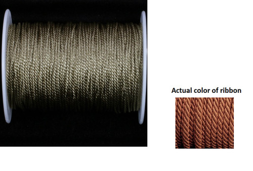 """Copper Brown Metalized Braided Cording Craft Ribbon 0.1"""" x 110 Yards - IMAGE 1"""