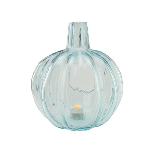 """9"""" Transparent Blue Glass Pumpkin Pillar Candle Holder - IMAGE 1"""