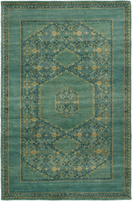 8' x 11' Modest Enlightenment Fresh Garden Green and Heavy Seafoam Hand Knotted Wool Area Rug - IMAGE 1
