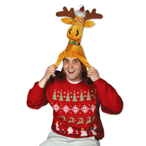 Pack of 6 Gold and Brown Plush Moose Christmas Hat Costume Accessories - IMAGE 1