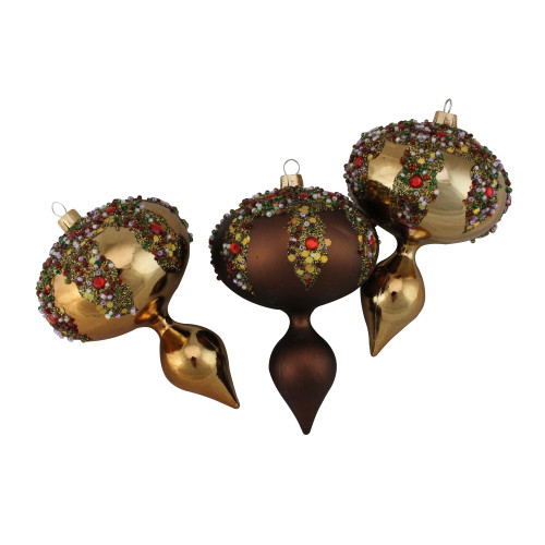 """3ct Mocha Brown Glitter Sequin Beaded Shatterproof Christmas Finial Ornaments 5"""" - IMAGE 1"""