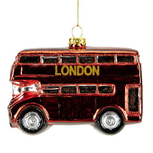 "4"" Red Double Decker London Tour Bus Glass Christmas Ornament - IMAGE 1"