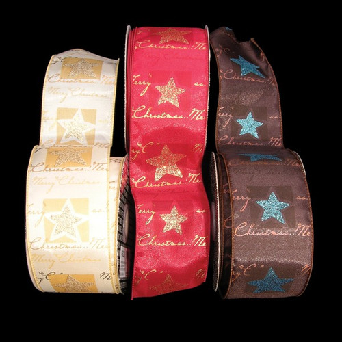 """Gold and Red """"Merry Christmas"""" Holiday Star Wired Craft Ribbons 2.5"""" x 40 Yards - IMAGE 1"""