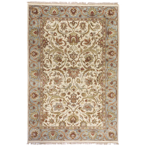 5.5' x 8.5' Floral Gray and Brown Hand Knotted Rectangular Wool Area Throw Rug - IMAGE 1