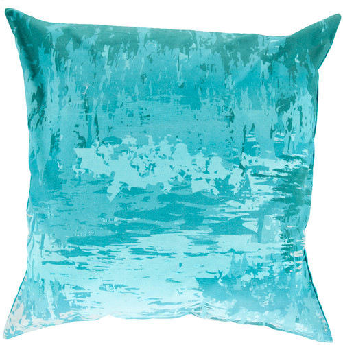 """20"""" Turquoise Blue Contemporary Square Throw Pillow - IMAGE 1"""