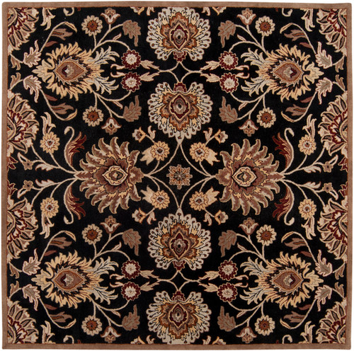 6' x 6' Floral Black and Red Hand Tufted Square Wool Area Throw Rug - IMAGE 1
