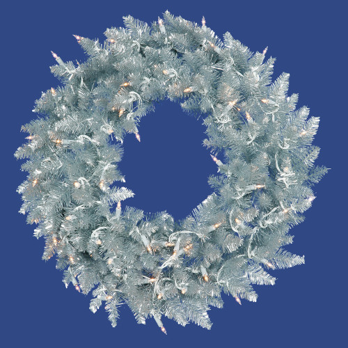 Pre-Lit Silver Ashley Spruce Tinsel Artificial Christmas Wreath - 60-Inch, Clear Lights - IMAGE 1