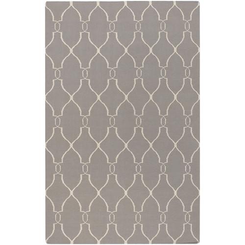 5' x 8' Open Swirled Gray and Ivory Hand Woven Rectangular Wool Area Throw Rug - IMAGE 1