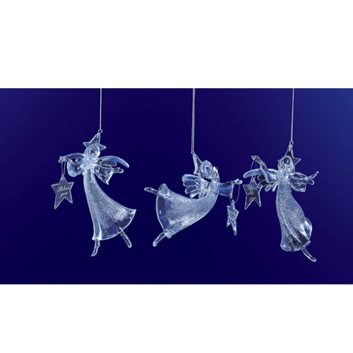 "Club Pack of 12 Clear Icy Crystal Christmas Glitter Angel Ornaments 6"" - IMAGE 1"