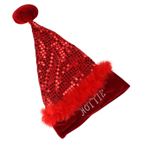 Red Sequined Unisex Adult Christmas Santa Hat Costume Accessory - Small - IMAGE 1