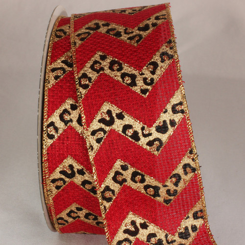 """Red and Black Cheetah Design Wired Craft Ribbon 2.5"""" x 20 Yards - IMAGE 1"""