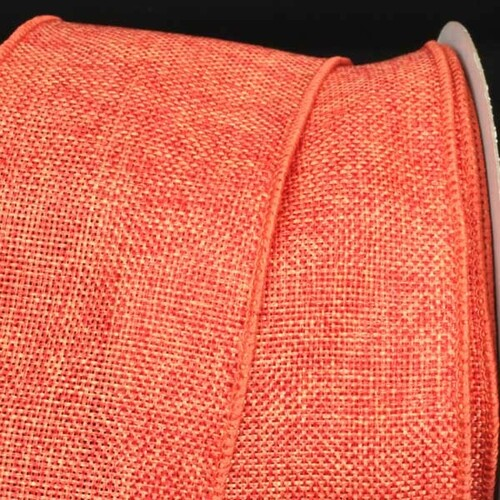 "Orange Fine Burlap Wired Craft Ribbon 3"" x 40 Yards - IMAGE 1"