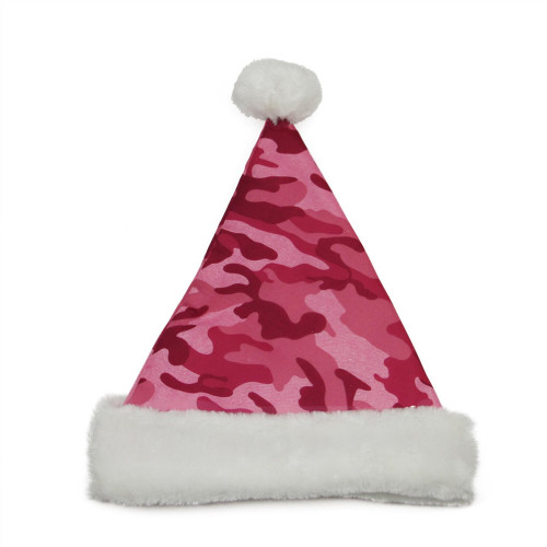 """21"""" Pink and White Camouflage Women Adult Christmas Santa Claus Hat Costume Accessory - Medium - IMAGE 1"""