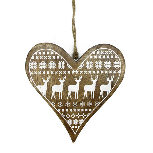 """8.5"""" Alpine Chic Mango Heart with Reindeer and Snowflake Hanging Christmas Ornament - IMAGE 1"""