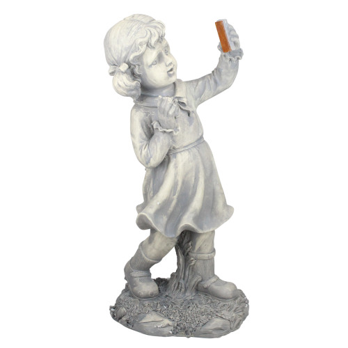 """18"""" Distressed Gray Girl with Cell Phone Solar Powered LED Lighted Outdoor Patio Garden Statue - IMAGE 1"""