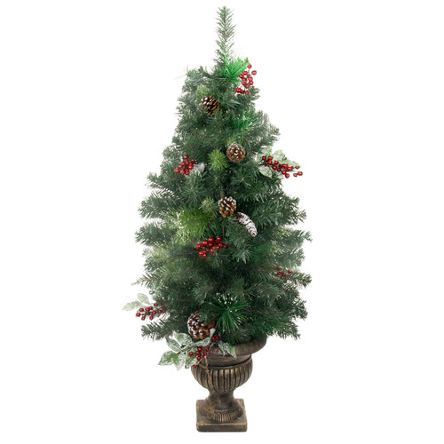 4' Potted Pre-Decorated Frosted Pine Cone, Berry and Twig Artificial Christmas Tree - Unlit - IMAGE 1
