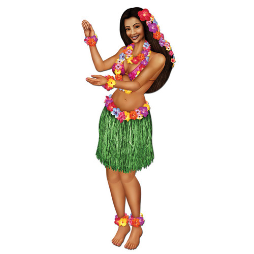 """Club Pack of 12 Brown and Green Tropical Luau Jointed Floral Hula Girl Party Decors 38"""" - IMAGE 1"""