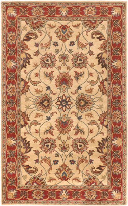 4' x 6' Brown and Beige Traditional Hand Tufted Rectangular Area Throw Rug - IMAGE 1