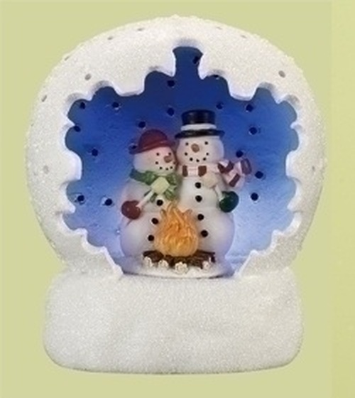 "4"" White and Blue Battery Operated LED Lighted Snowman Couple Scene Table Top Christmas Dome - IMAGE 1"