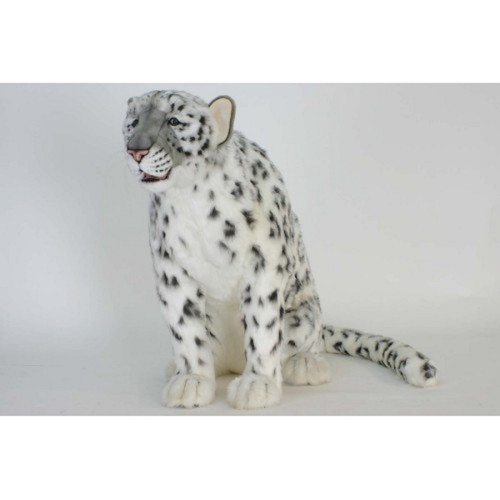 """45.25"""" White and Black Handcrafted Soft Plush Snow Leopard Stuffed Animal - IMAGE 1"""