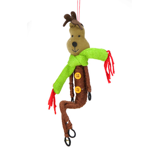 "9.5"" Brown and Green Wrap it Up Posable Reindeer Christmas Ornament - IMAGE 1"