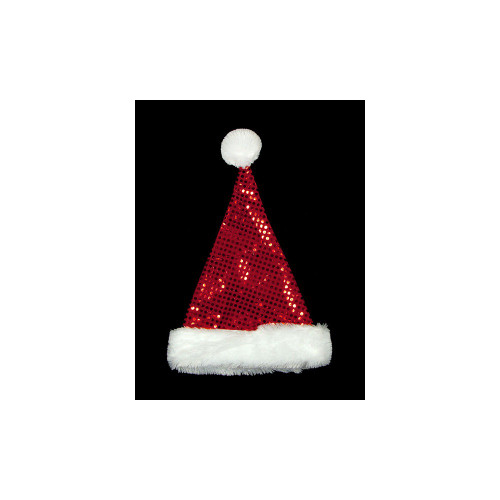 """19"""" Red and White Sequin Unisex Adult Christmas Santa Hat Costume Accessory - One Size - IMAGE 1"""
