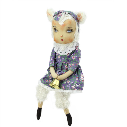 """13"""" Purple and White Sitting Lillibeth the Lamb Girl Easter Figurine - IMAGE 1"""