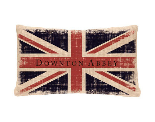 """20"""" Blue and Red Downton Abbey Union Jack Rectangular Throw Pillow - IMAGE 1"""