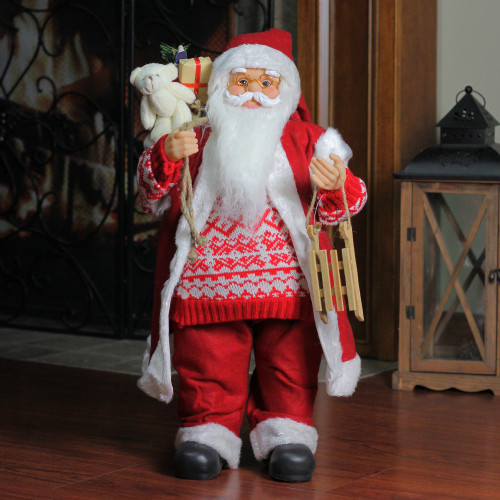 "24"" Red and White Country Twist Standing Santa Claus Christmas Figure - IMAGE 1"