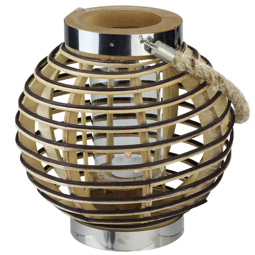 """9.5"""" Rustic Chic Round Rattan Decorative Candle Holder Lantern with Jute Handle - IMAGE 1"""