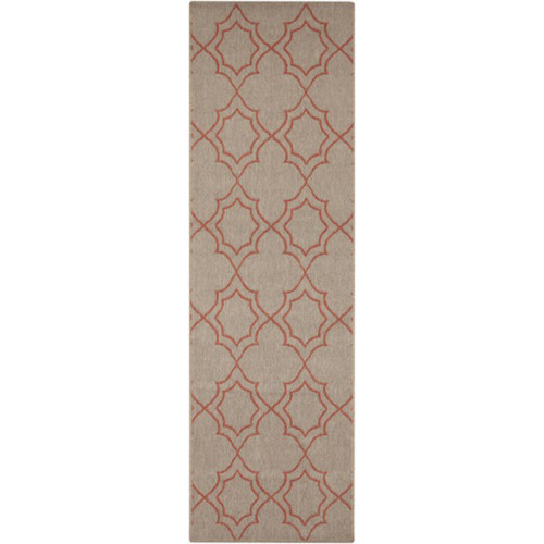 2.25' x 11.75' Gray and Burgundy Red Contemporary Outdoor Area Throw Rug Runner - IMAGE 1