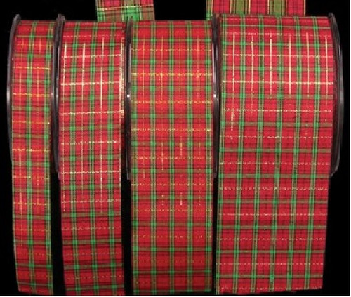 "Red and Green Tartan Plaid Craft Ribbon 2"" x 132 Yards - IMAGE 1"