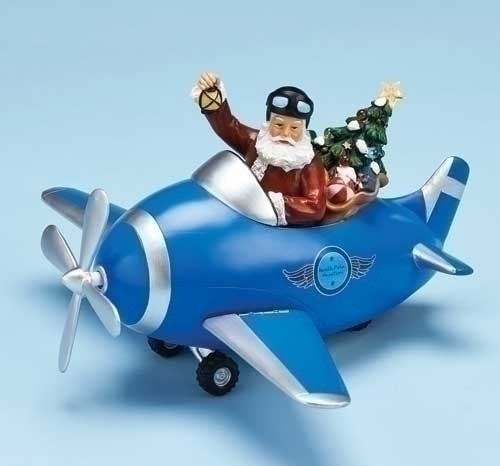 """11.5"""" Blue and Silver Musical Santa Claus Christmas Figurine - IMAGE 1"""