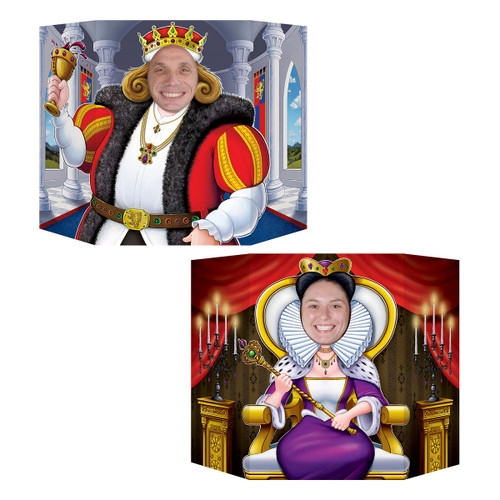 """Pack of 6 Multi-Color Throne Seated King and Queen Photo Props 37"""" - IMAGE 1"""