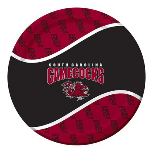 """Club Pack of 96 NCAA South Carolina Gamecock Round Tailgate Party Paper Dinner Plates 8.75"""" - IMAGE 1"""
