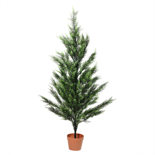 4.5' Potted Two-Tone Artificial Cypress Tree - IMAGE 1