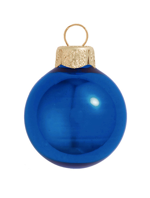 """40ct Cobalt Blue and Gold Shiny Glass Christmas Ball Ornaments 1.25"""" (30mm) - IMAGE 1"""