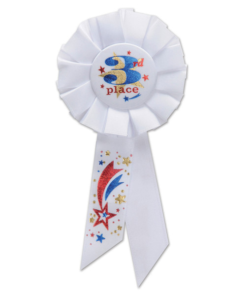 """Pack of 6 White """"3rd Place"""" School and Sports Award Rosette Ribbons 6.5"""" - IMAGE 1"""
