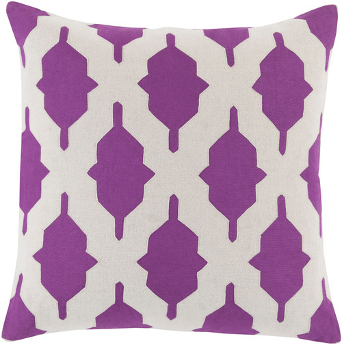 """22"""" Purple and White Contemporary Throw Pillow - IMAGE 1"""