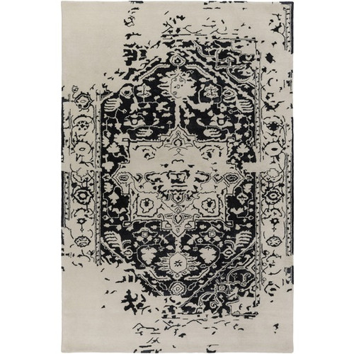 9' x 12' Graceful Elegance Caviar Black and Ivory Hand Tufted Area Throw Rug - IMAGE 1