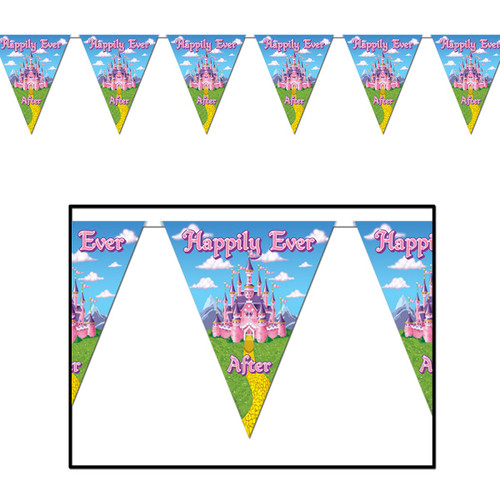 Club Pack of 12 Blue and Pink Happily Ever After Princess Pennant Banner Hanging Party Decors 12' - IMAGE 1