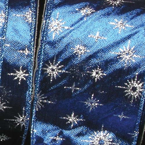 """Blue and Silver Glittered Star Lame Wired Craft Ribbon 3"""" x 20 Yards - IMAGE 1"""