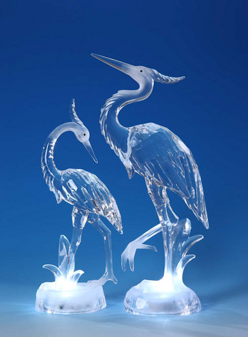 "Set of 2 Clear Decorative Icy Heron Table Top Figurines 15"" - IMAGE 1"