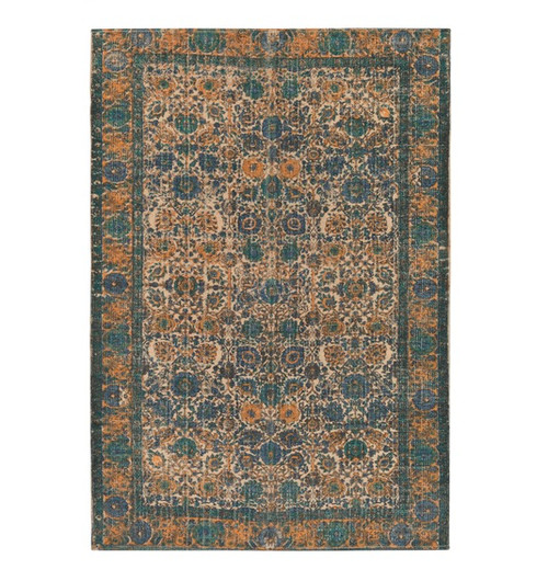 5' x 7.5' Mama's Garden Sand Brown and Cadet Blue Hand Woven Area Throw Rug - IMAGE 1