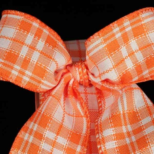 "Orange and White Plaid Wired Craft Ribbon 1.5"" x 40 Yards - IMAGE 1"