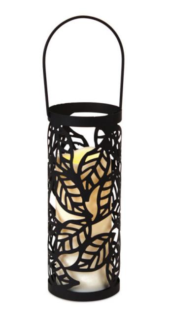 "10"" Black Leaf Pattern LED Flameless Pillar Candle Lantern - IMAGE 1"
