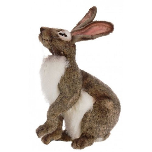 """Set of 2 Brown and White Handcrafted Soft Plush Jack Rabbit Stuffed Animals 11.75"""" - IMAGE 1"""