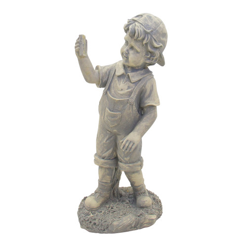 "18"" Distressed Gray Boy with Cell Phone Solar Powered LED Lighted Outdoor Patio Garden Statue - IMAGE 1"